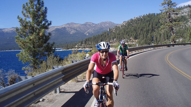 Tina Wilson and Tim Carter road biking in Colorado