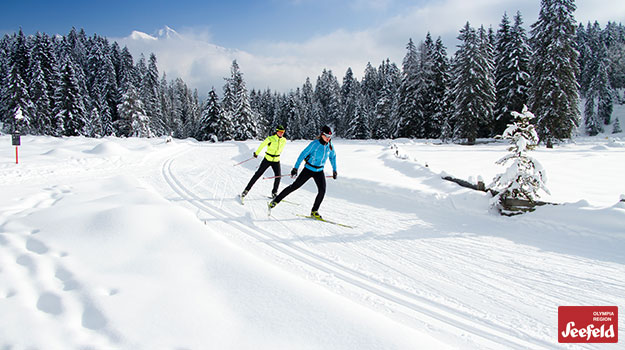 Skate skiing on Nordic trails in Leutasch